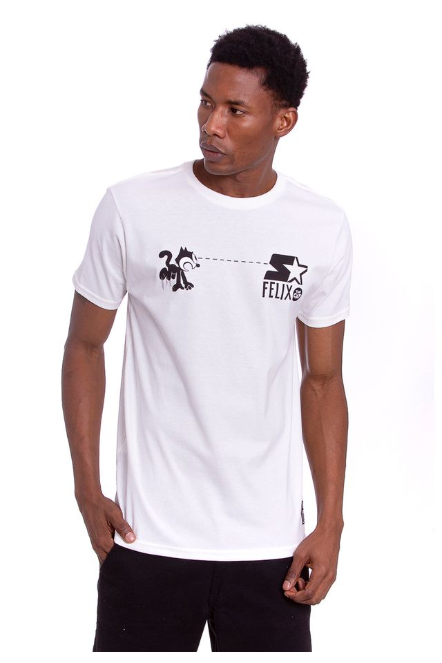 Camiseta-Starter-Estampada-Collab-Gato-Felix-Off-White