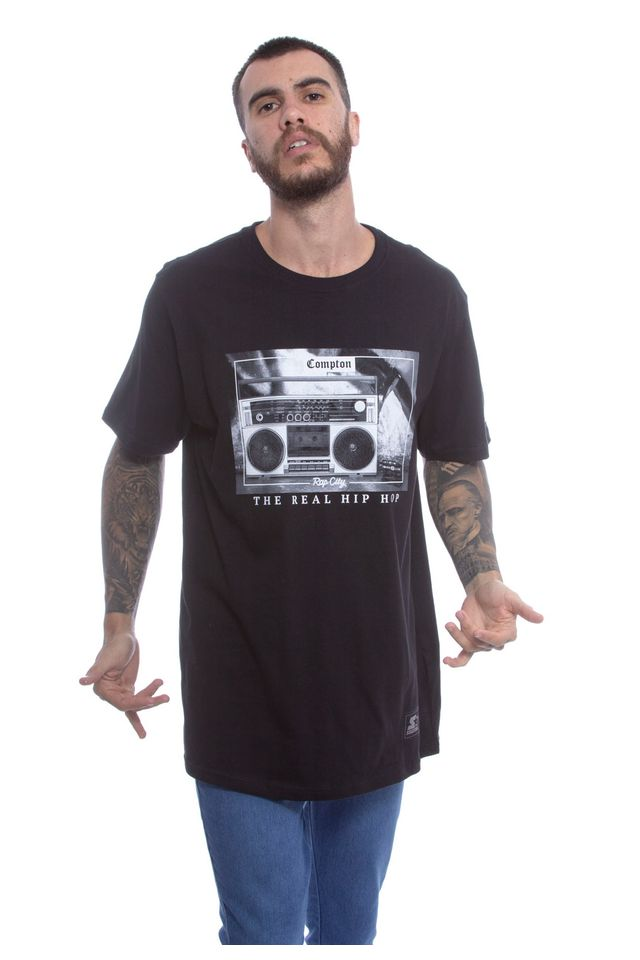 Camiseta-Starter-Estampada-Rap-City-Trhh-Preta