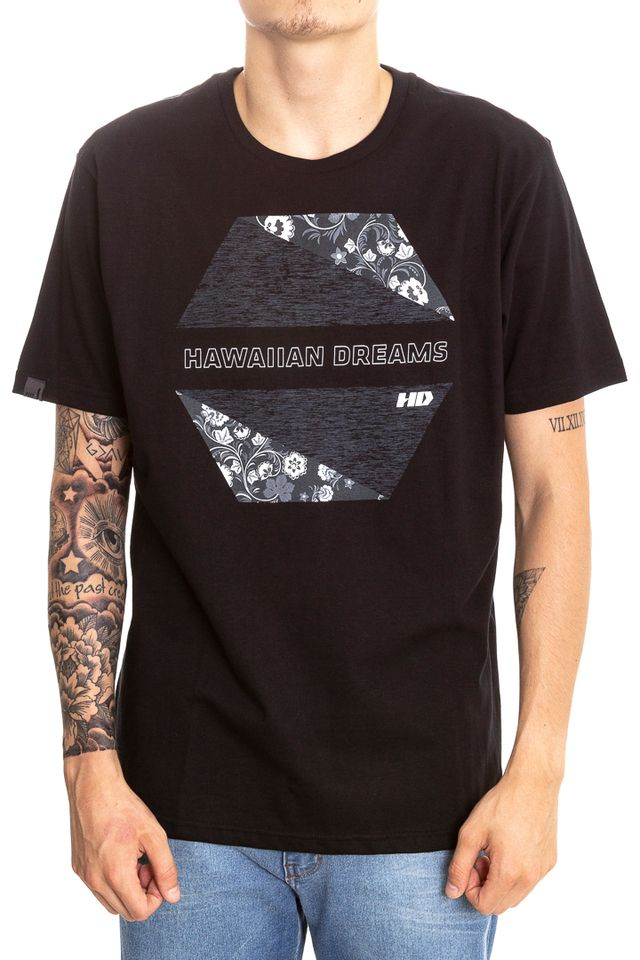 Camiseta-Hawaiian-Dreams-Estampada-Beroque-Cinza