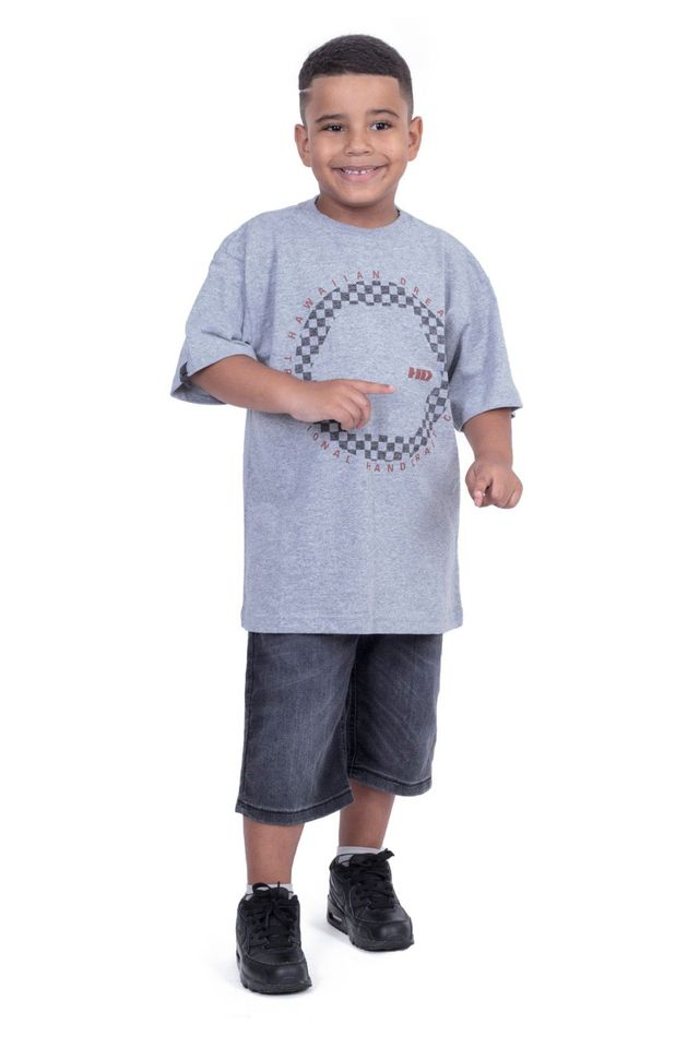 Camiseta-Hawaiian-Dreams-Juvenil-Estampada-Grid-Cinza