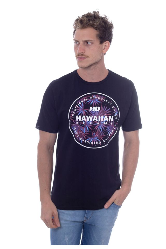 Camiseta-Hawaiian-Dreams-Estampada-Spike-Flora-Preta