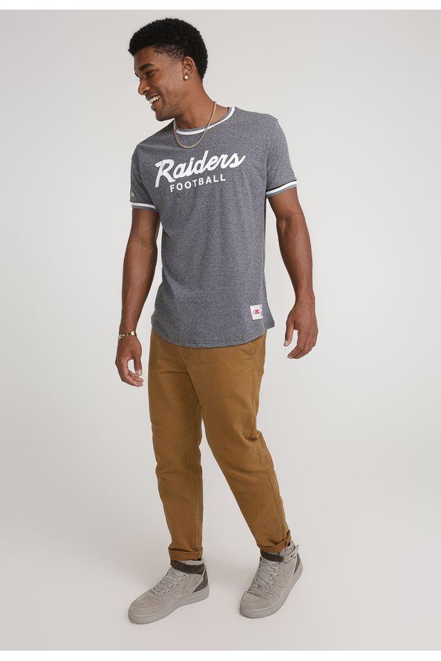 Camiseta-Mitchell---Ness-Estampada-NFL-Especial-Oakland-Raiders-Cinza-Mescla-Escuro