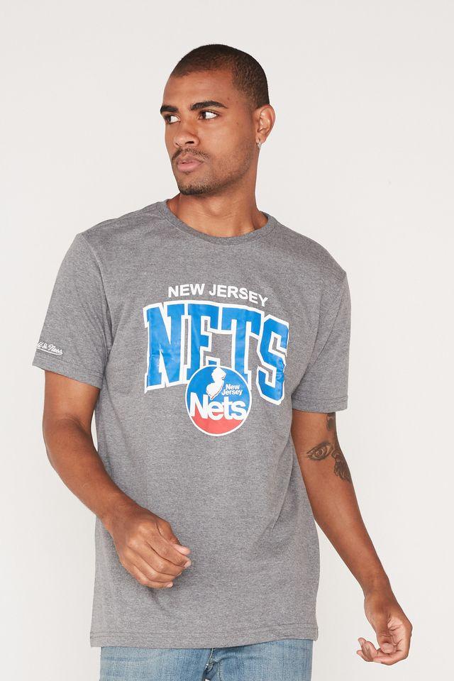 Camiseta-Mitchell---Ness-Estampada-New-Jersey-Nets-Cinza-Mescla