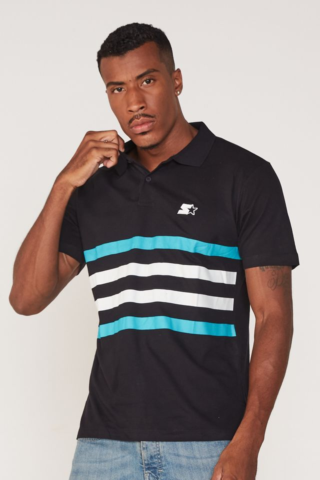 Camisa-Polo-Starter-Manga-Curta-Piquet-Estampada-Preta