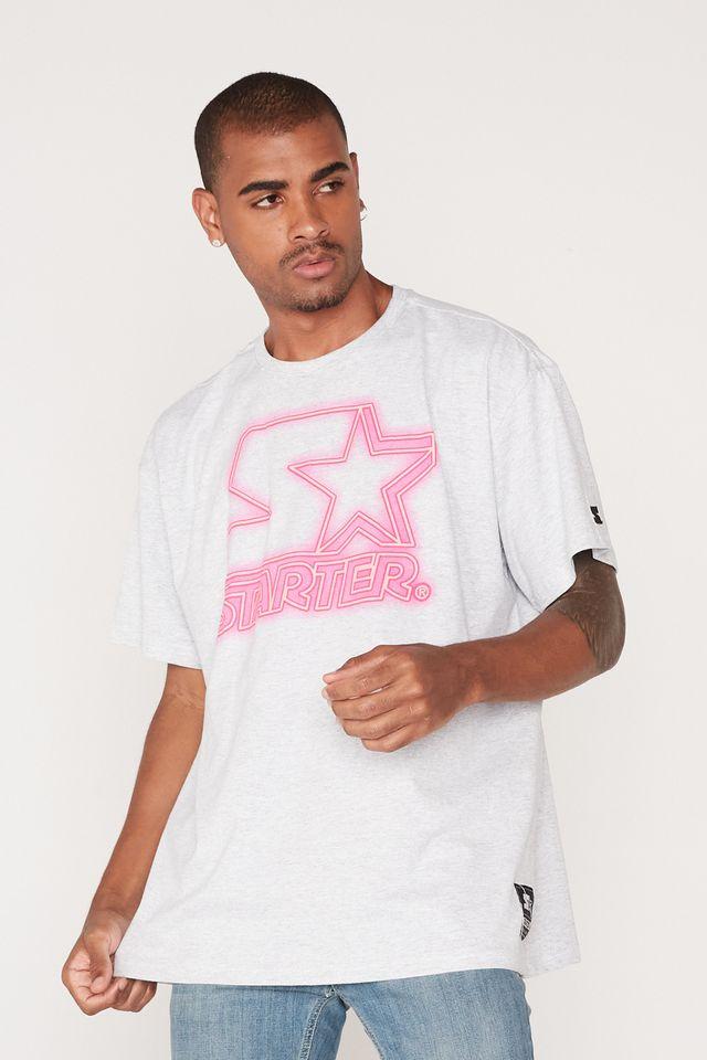 Camiseta-Starter-Plus-Size-Estampada-Cinza-Mescla