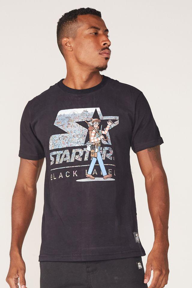 Camiseta-Starter-Estampada-Collab-Wally-Preta
