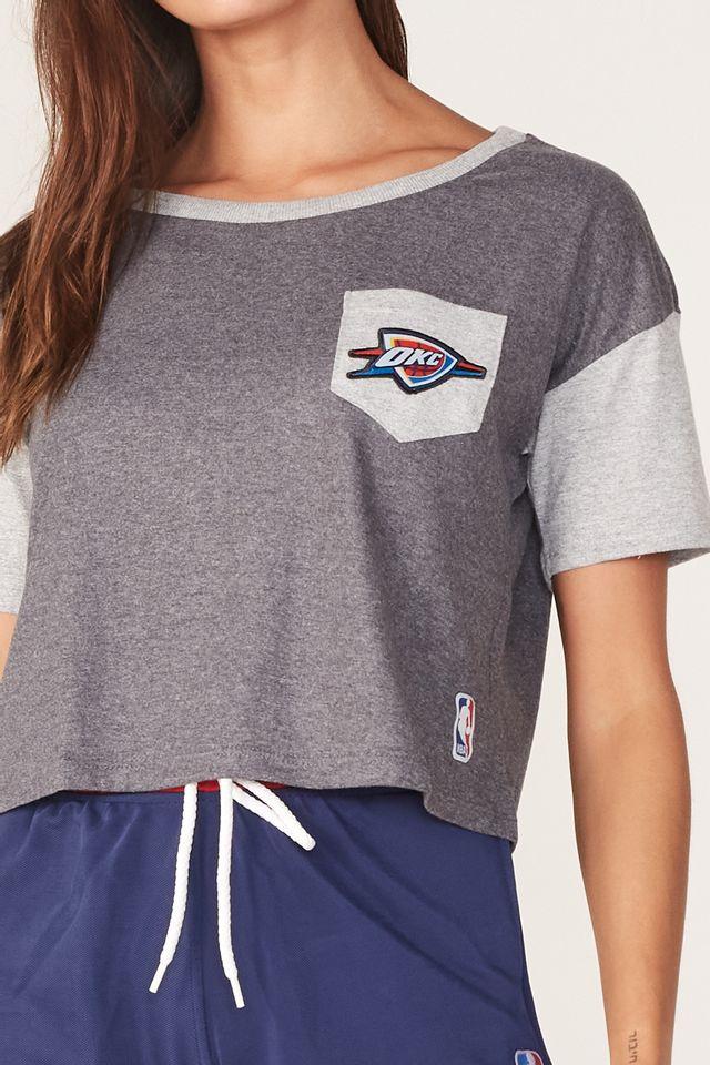Cropped-NBA-Feminino-Estampada-Logo-Oklahoma-City-Thunder-Cinza