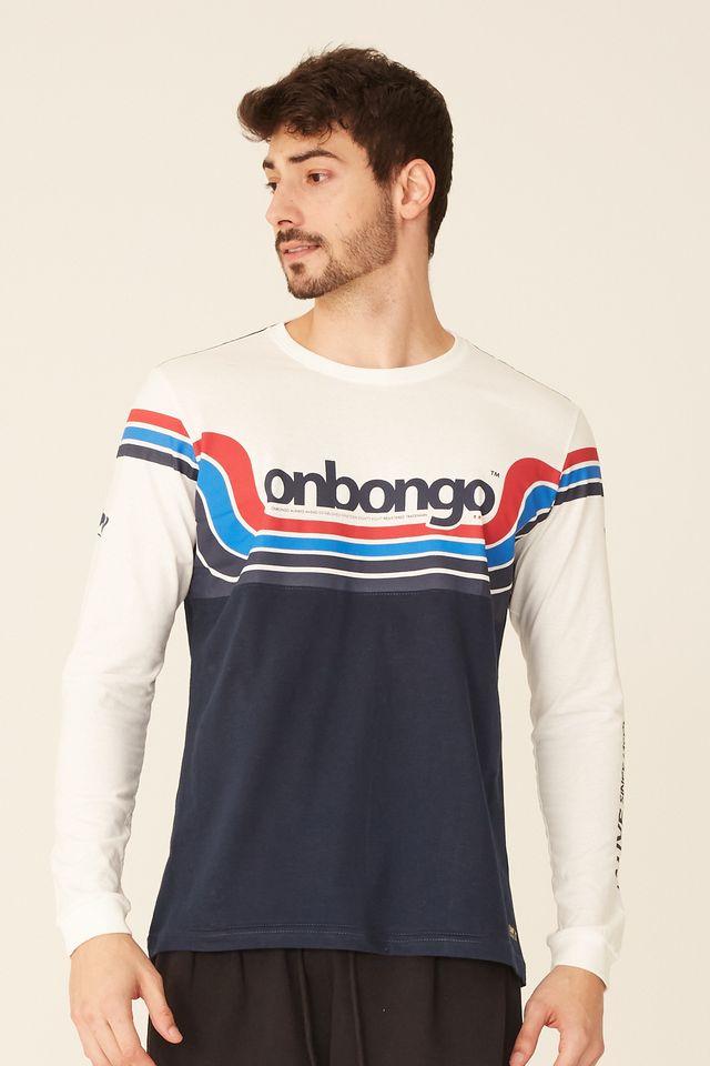 Camiseta-Onbongo-Manga-Longa-Especial-Off-White-Com-Azul-Marinho