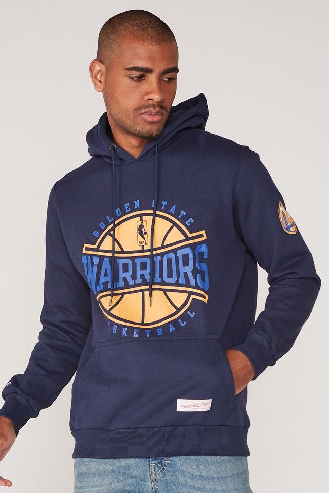Moletom-Mitchell---Ness-NBA-Especial-Fechado-Com-Capuz-Golden-State-Warriors-Azul-Marinho