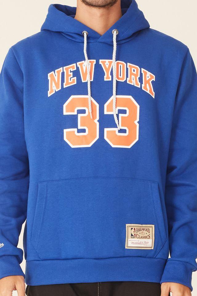Moletom-Mitchell---Ness-Fechado-Com-Capuz-New-York-Knicks-Patrick-Ewing-Azul