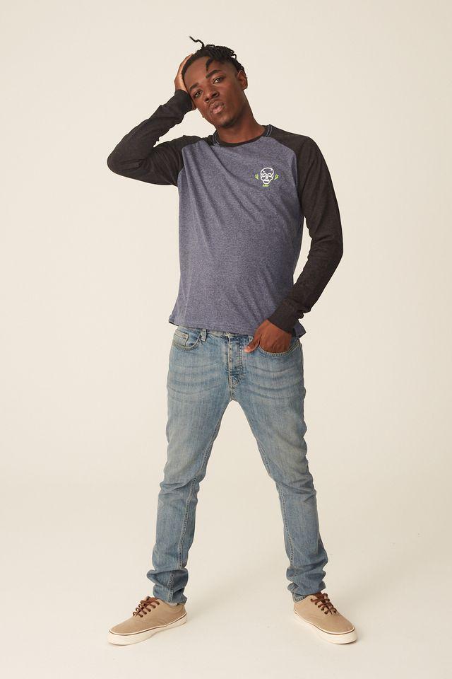 Camiseta-HD-Manga-Longa-Raglan-Estampada-Minimal-Azul-Mescla