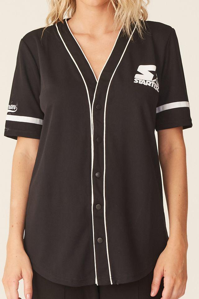 Camisa-Starter-Feminina-Manga-Curta-Estampada-Preta