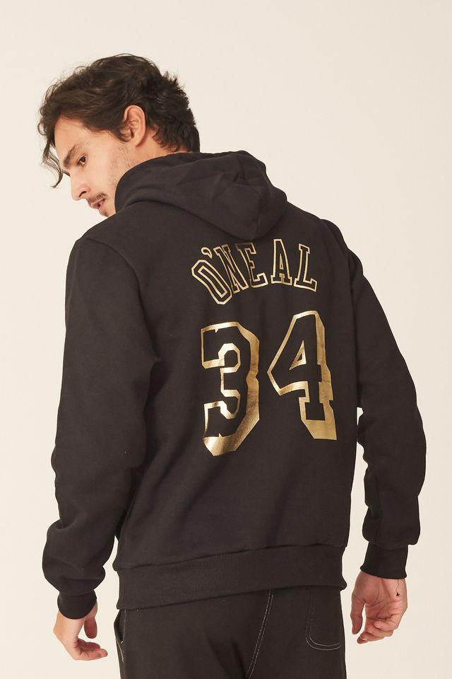 Moletom-Mitchell---Ness-Fechado-Com-Capuz-Los-Angeles-Lakers-Shaquille-Oneal-Preto