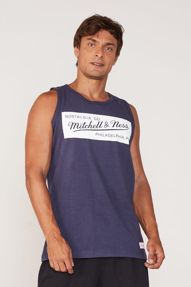 Regata-Mitchell---Ness-Estampada-Box-Logo-Azul-Marinho