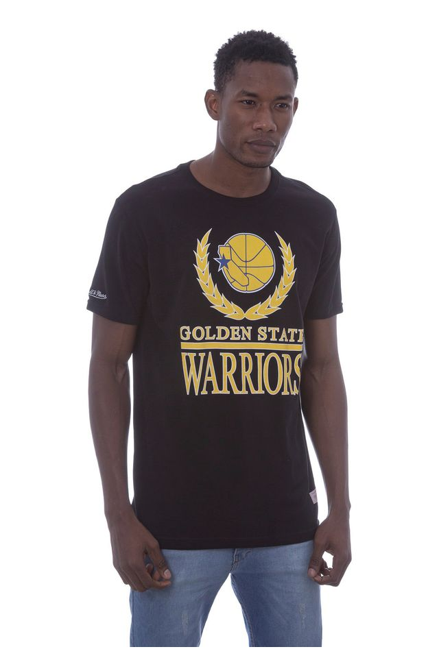 Camiseta-Mitchell---Ness-Estampada-Laurel-Programm-Golden-State-Warriors-Preta