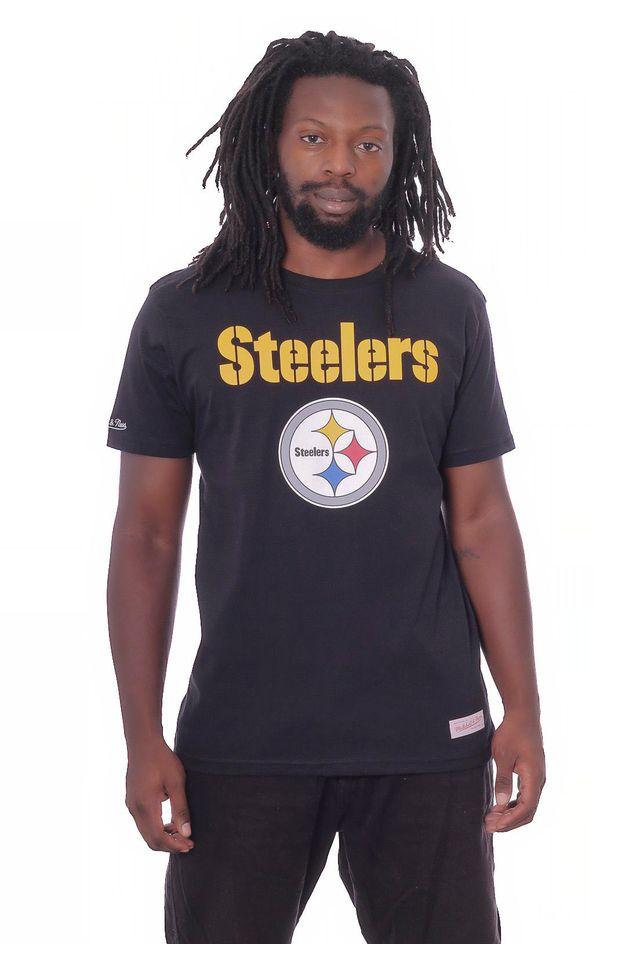 Camiseta-Mitchell---Ness-Basica-Estampada-NFL-Pittsburgh-Steelers-Preta