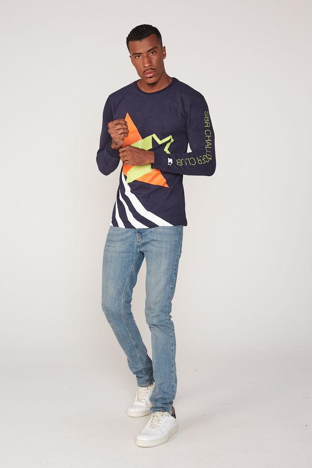 Camiseta-Starter-Manga-Longa-Estampada-Big-Logo-Azul-Marinho