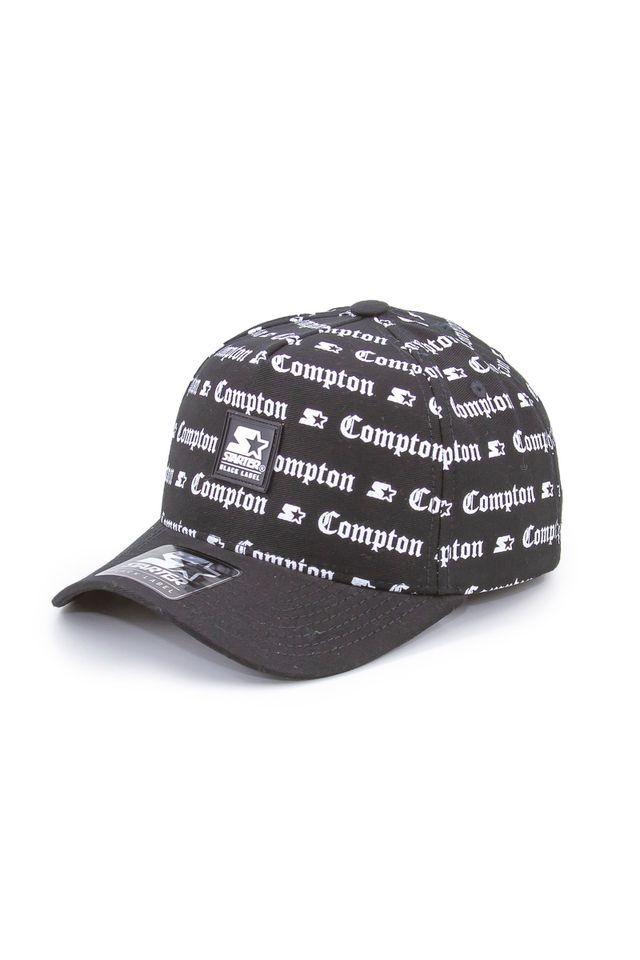 Bone-Starter-Aba-Curva-Snapback-Full-Print-Compton-Preto