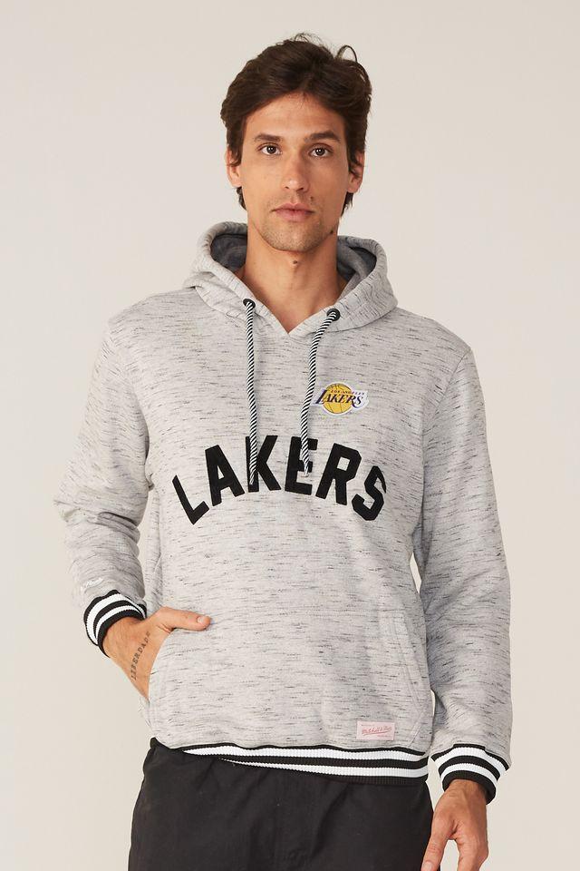 Moletom-Mitchell---Ness-Fechado-Com-Capuz-Los-Angeles-Lakers-Cinza-Mescla