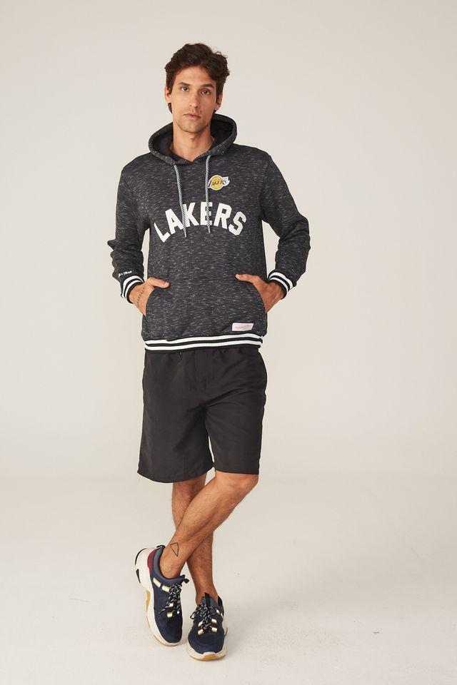 Moletom-Mitchell---Ness-Fechado-Com-Capuz-Los-Angeles-Lakers-Preto-Mescla