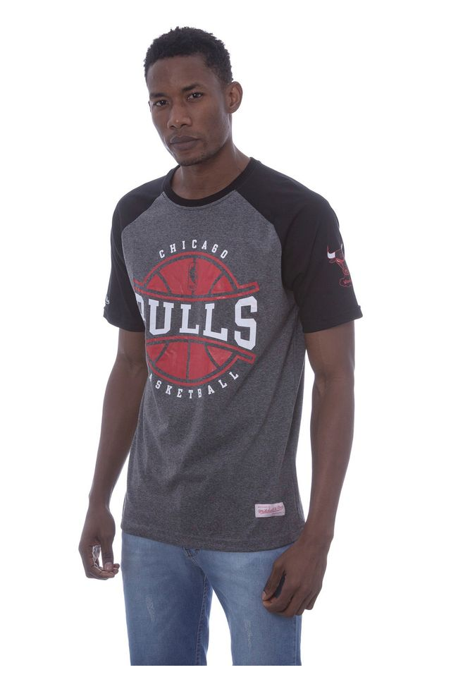 Camiseta-Mitchell---Ness-Raglan-Estampada-Ball-Play-Chicago-Bulls-Cinza