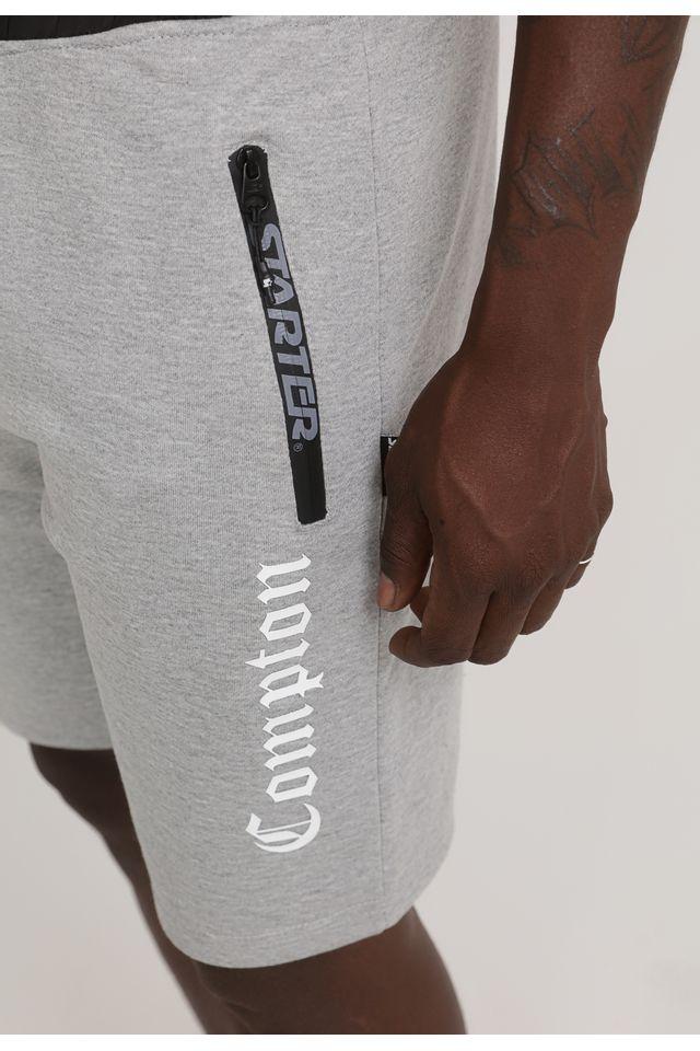 Bermuda-Starter-Moletom-Compton-Cinza-Mescla-Escuro
