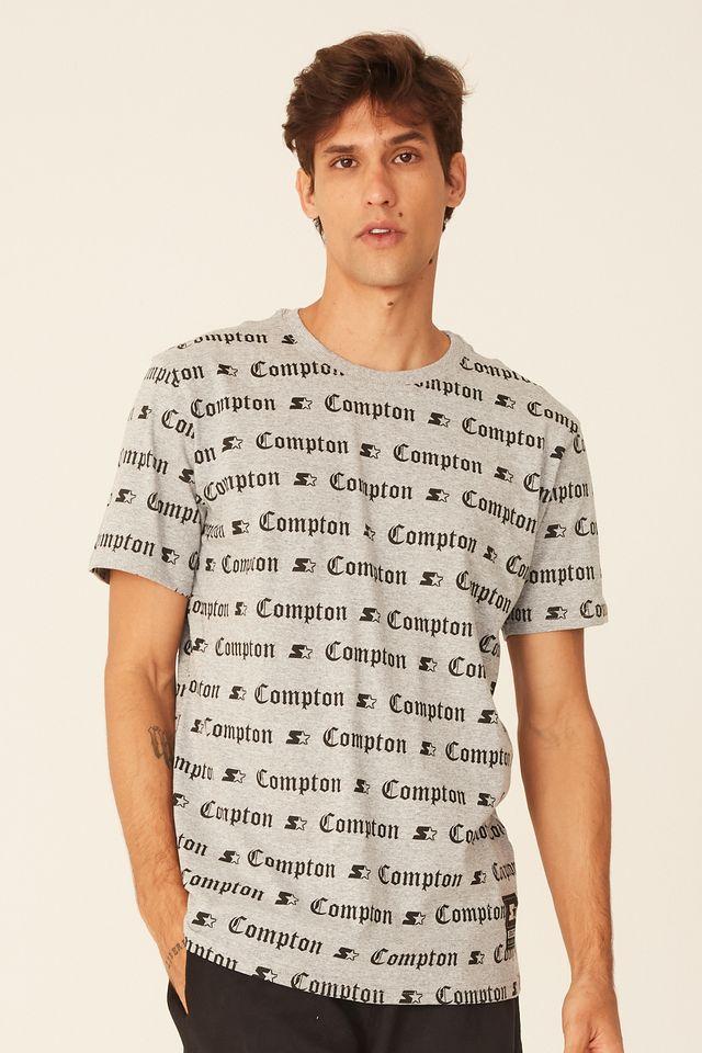 Camiseta-Starter-Basica-Estampada-Compton-Cinza-Mescla