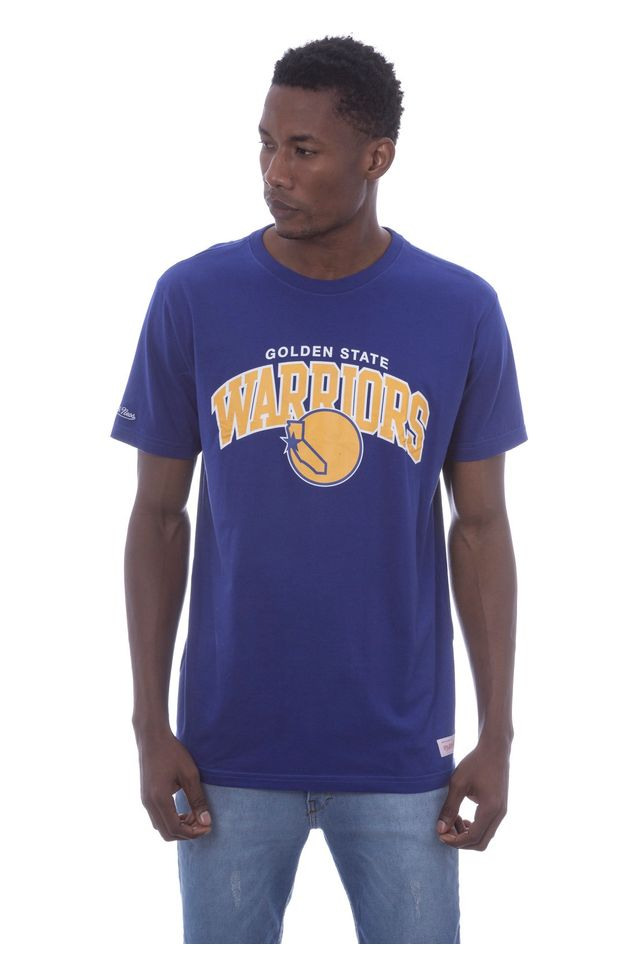 Camiseta-Mitchell---Ness-Estampada-Golden-State-Warriors-Azul