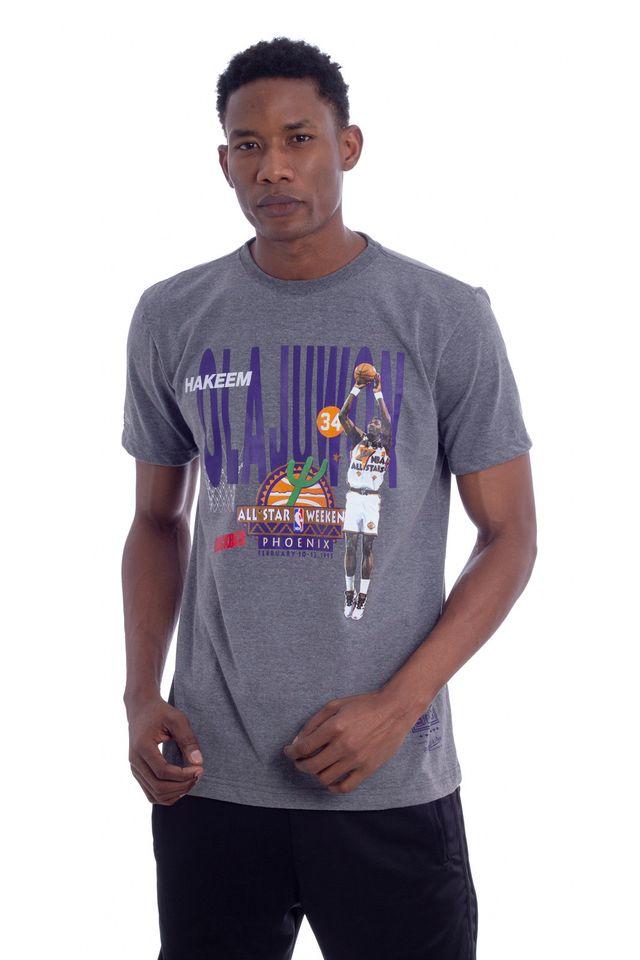 Camiseta-Mitchell---Ness-Estampada-NBA-All-Star-Houston-Rockets-Hakeem-Olajuwon-Cinza