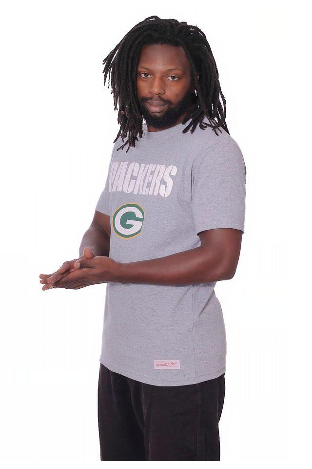 Camiseta-Mitchell---Ness-Basica-Estampada-NFL-Green-Bay-Packers-Cinza-Mescla