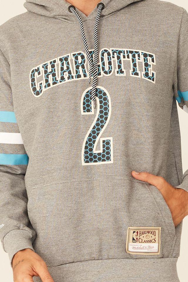 Moletom-Mitchell---Ness-Especial-Fechado-Com-Capuz-Charlotte-Hornets-Larry-Johnson-Cinza-Mescla
