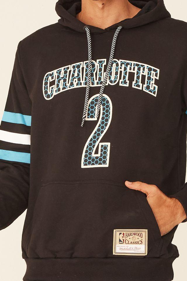 Moletom-Mitchell---Ness-Especial-Fechado-Com-Capuz-Charlotte-Hornets-Larry-Johnson-Preto
