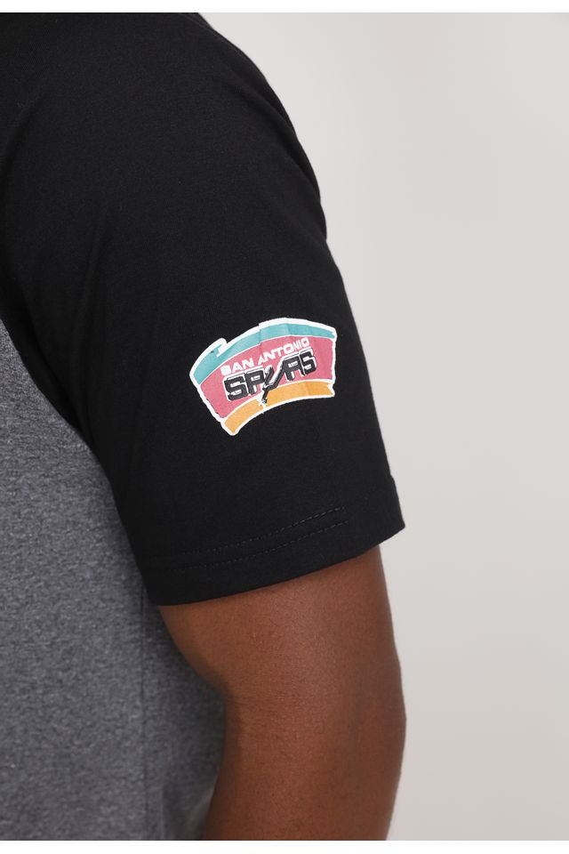 Camiseta-Mitchell---Ness-Estampada-Ball-And-Play-San-Antonio-Spurs-Cinza