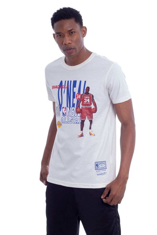 Camiseta-Mitchell---Ness-Estampada-NBA-All-Star-Shaquille-Oneal-Off-White