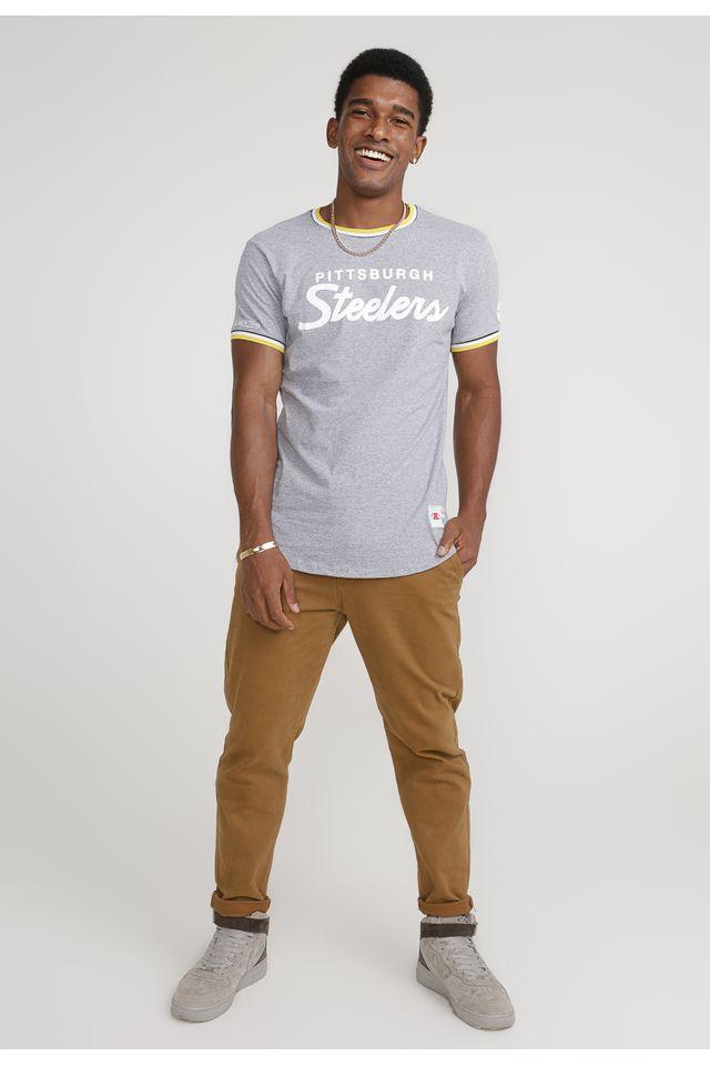 Camiseta-Mitchell---Ness-Estampada-NFL-Especial-Pittsburgh-Steelers-Cinza-Mescla