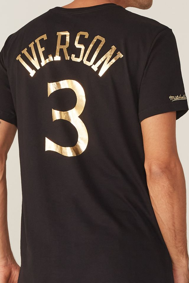 Camiseta-Mitchell---Ness-Estampada-Philadelphia-76ERS-Allen-Iverson-Preta