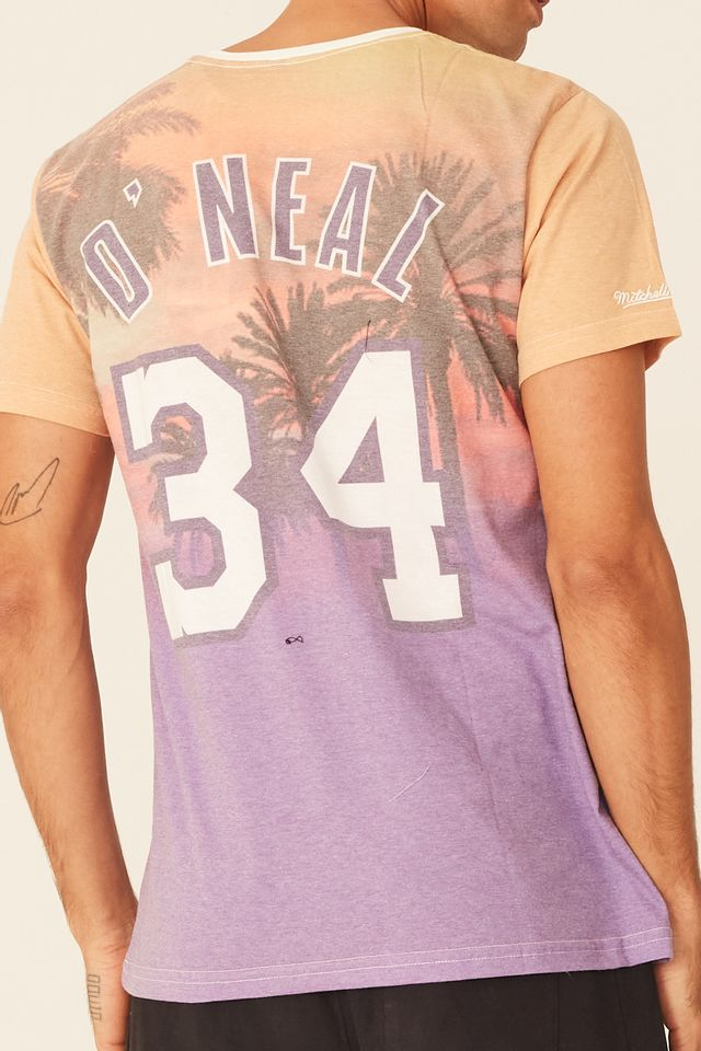 Camiseta-Mitchell---Ness-Estampada-City-Pride-Los-Angeles-Lakers-Shaquille-Oneal-Off-White