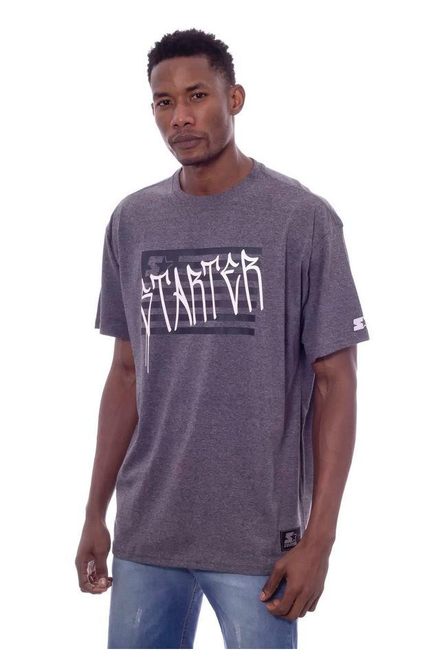 Camiseta-Starter-Plus-Size-Estampada-Cinza-Mescla-Escuro