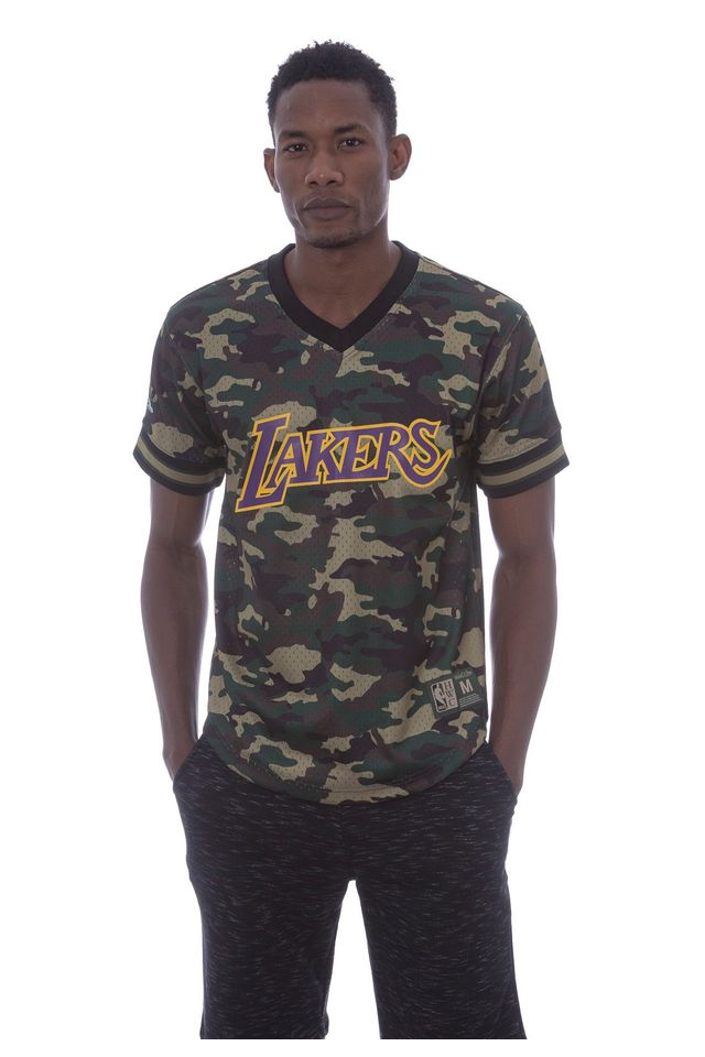 Camisa-Mitchell---Ness-Manga-Curta-Swingman-Camuflada-Los-Angeles-Lakers-Verde