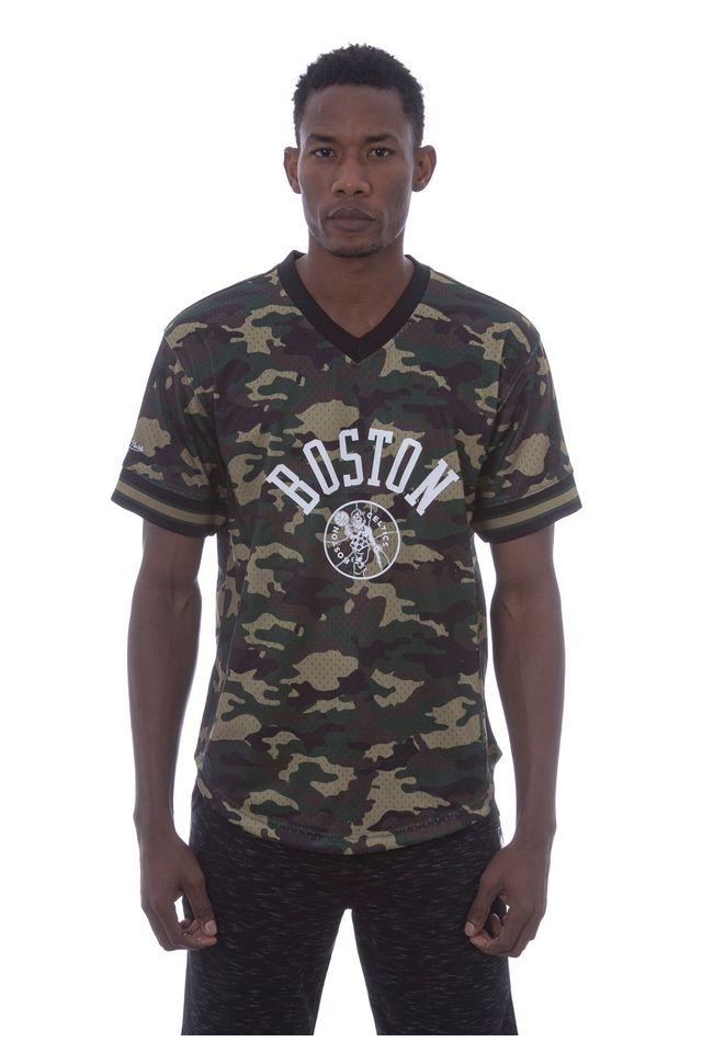 Camisa-Mitchell---Ness-Manga-Curta-Swingman-Camuflada-Boston-Celtics-Verde