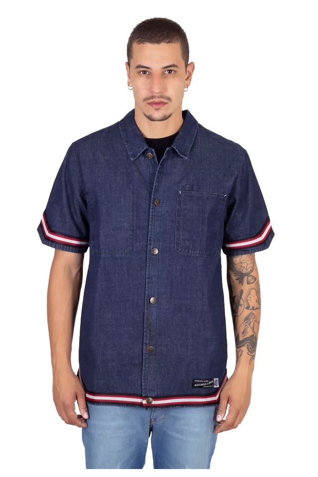 Camisa-Mitchell---Ness-Manga-Curta-Branded-Azul-Marinho
