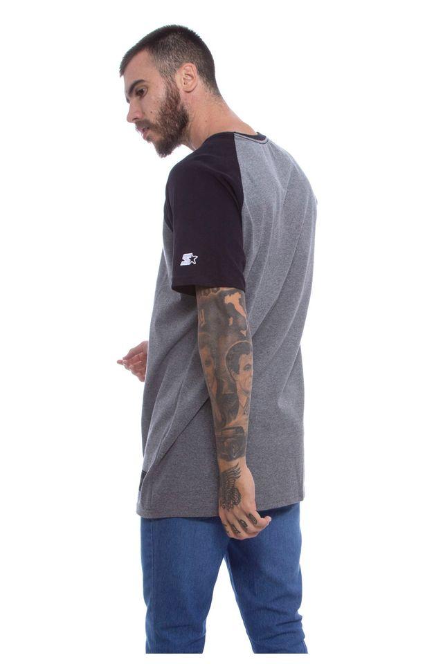 Camiseta-Starter-Raglan-Estampada-Cinza-Mescla-Escuro