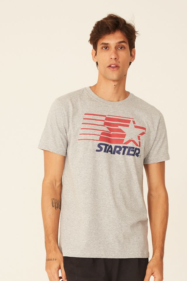 Camiseta-Starter-Estampada-Big-Logo-Cinza-Mescla