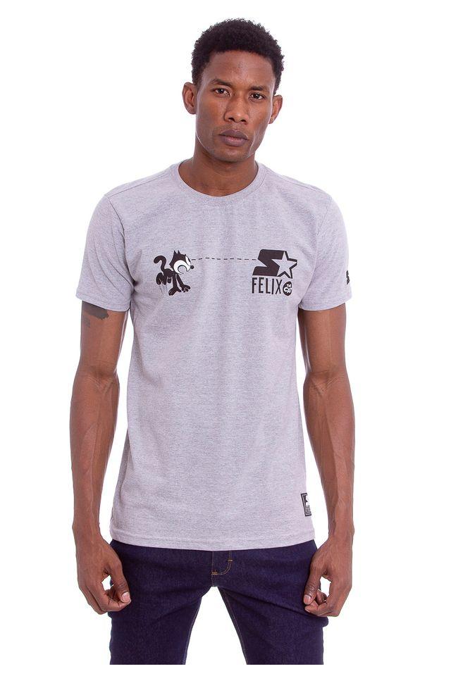 Camiseta-Starter-Estampada-Collab-Gato-Felix-Cinza-Mescla
