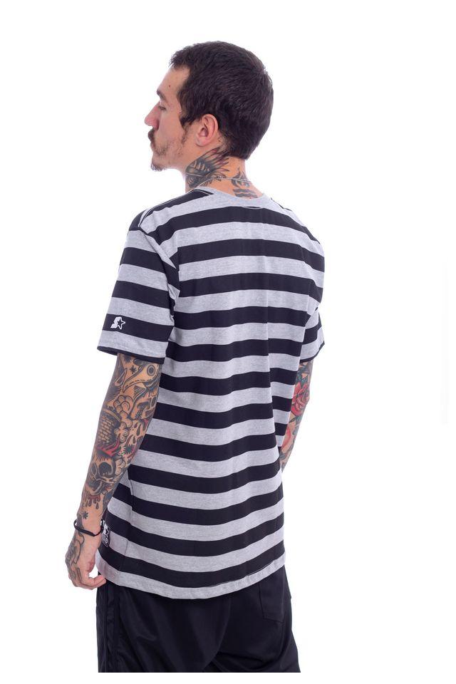 Camiseta-Starter-Estampada-Listrada-Collab-Gato-Felix-Cinza-Mescla