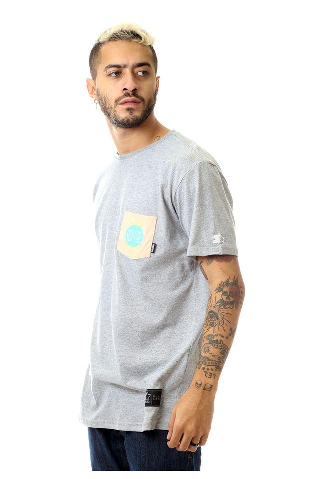 Camiseta-Starter-Estampada-Pocket-Straight-Cinza-Mescla