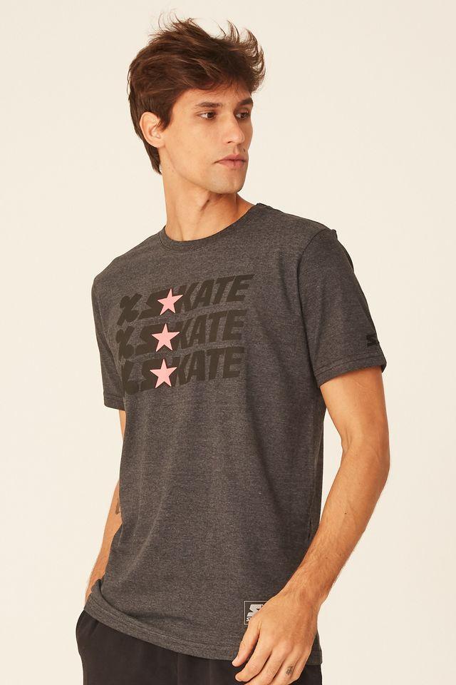 Camiseta-Starter-Estampada-Collab-Cemporcento-Skate-Cinza-Mescla-Escuro