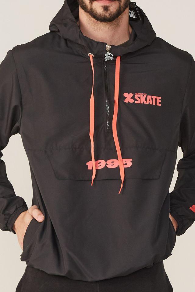 Jaqueta-Starter-Corta-Vento-Fechada-Com-Capuz-Collab-Cemporcento-Skate-Preta