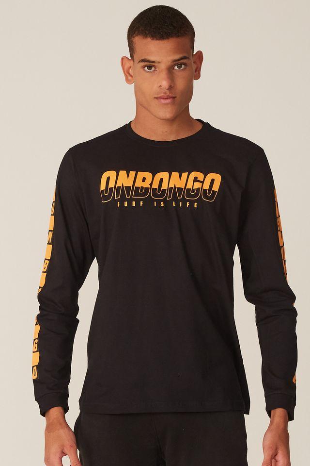 Camiseta-Onbongo-Manga-Longa-Estampada-Preta