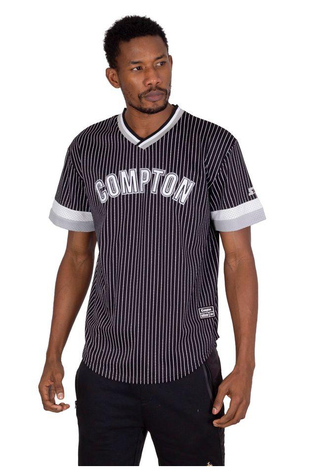 Camisa-Starter-Manga-Curta-Listrada-Compton-Preta